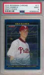 Cole Hamels PHILLIES 2002 Bowman Draft Chrome #17 Rookie Card rC PSA 9 Mint