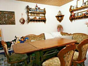 Rustikale Eckbank, Eiche massiv, Tisch und drei Stühle. Lieferung nur im Umkreis
