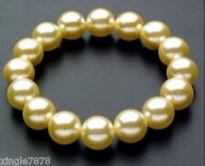 Genuine 12mm Round Yellow South Sea Shell Pearl Stretchy Bracelet 7.5'' AAA+