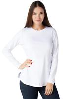 Isaac Mizrahi Essentials X-Large Pima Cotton Crew Neck Knit Top Bright White XL