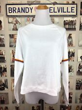 Brandy Melville White Retro Rainbow Striped sleeve crewneck Amanda top Shirt New