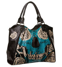 Banned Banned Sugar Skull Skeleton Bones & Roses Large Handbag Gothic Punk Blue