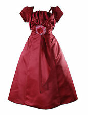 New Burgundy Satin Bridesmaid Flower Girls Pageant Dress with Bolero 12-13 Years
