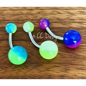14g two tone multi color glow in the dark basic belly ring (#219-221)