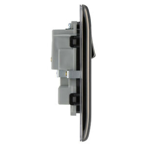 NEWLEC 2-Gang 2-Pole Raised Edged Socket Outlet Black Nickel/Black For domest...