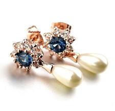 Rose Gold Filled Blue Crystal Sun Flower White Pearl Teardrop Dangle Earring IE3