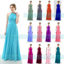 HALTER NECK CHIFFON BRIDESMAID PARTY EVENING PROM DRESSES SIZE 6-24 JS58