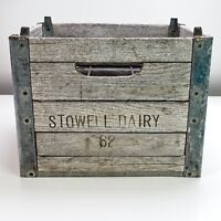 Vintage Wood and Steel Milk Crate, STOWELL DAIRY Holds 6 bottles