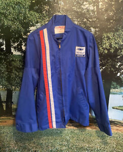 Vintage Work Jacket Chevrolet Chevy Service Maintenance Made In USA Blue 70s 80s