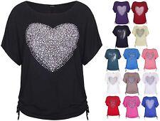 Womens Heart Print Sequin Ladies Short Batwing Sleeve Tie T-Shirt Top Plus Size