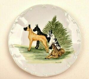 "Bareuther Waldsassen GREAT DANE Plate Limited Edition 7.75"" Vintage Bavaria"