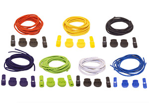 """No Tie Elastic Shoelaces - 7 Pairs Stretch 39"""" Laces with Easy Lock System"""