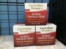 3 PACK Australian Dream Arthritis Pain Relief Cream 4 oz EXP MARCH 2022 #0002
