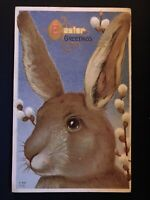 ~BIG BROWN BUNNY RABBIT~PUSSY WILLOW~FLOWERS~VINTAGE  EASTER POSTCARD-b928