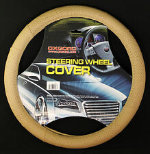 Oxgord Leather Steering Wheel Cover in Beige GL101 BG