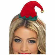 Adult Womens Mini Elf Hat on Headband Smiffys Christmas Fancy Dress Costume