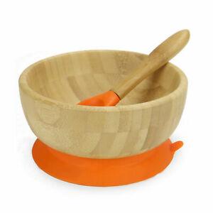 Baby Suction Bowl & Spoon Antibacterial Bamboo Feeding Dinner Set M&W