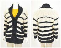 Womens Jean Paul Gaultier Lindex Cardigan Chunky Knit Jumper Striped Size XS