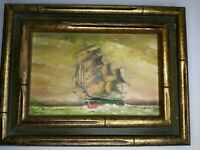 Vintage Framed miniature oil painting of colonial battle ship 8x6 Signed Morley