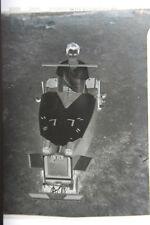 (1) B&W Press Photo Negative Boy Home Made Car Racing Anchor Wheels Vintage T589