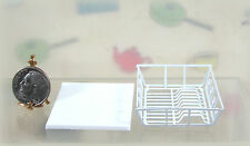 Dollhouse Miniature White Dish Drainer & Drying Mat