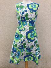 TRUE VINTAGE 60's HAWAIIAN DAISY FLOWER PSYCHEDELIC PRINT M 14 Cotton