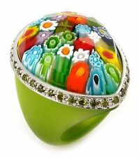 ALAN K MURANO GRAND COLLECTION WITH GREEN CZS FACETED MULTICOLOR GLASS & SILVER