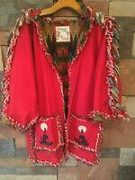 Southwest Moon's Jacket Fringe Denim Embroidery Applique Red Lined sz ML VTG WR6