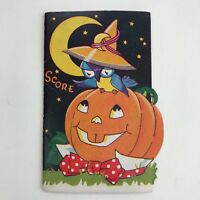 Vintage Halloween Bridge Scorecard Owl In A Witch Hat Pumpkin Decor Made In USA