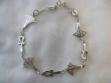 Egyptian Sterling Silver Ankh Lotus Flower Bracelet 9.5