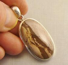ZEBRA JASPER Semi-Precious Gem & 925 Sterling Silver Pendant  -  497c