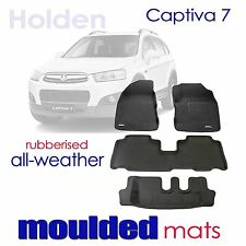 To suit Holden Captiva 7 2006 - 2010 BLACK Rubber 3D Floor Mats
