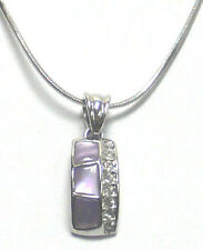 Necklace Chain and Pendant Mother of Pearl and Crystal AR85800-2
