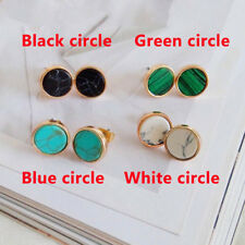 Women 1Pair Geometric Round Triangle Marble Pattern Earrings Ear Stud Gift