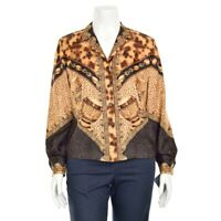 Escada Margaretha Ley Camel/Brown Print 100% Silk Blouse Shirt Top sz 38 DE/8 US