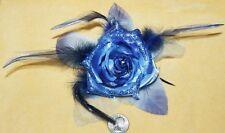 Blue Flower Glitter Hippie Boho Feather Tribal Belly Dance Dancing Hair Clip Pin