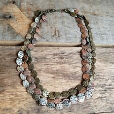 Vintage Bohemian Bronze Statement Necklace Triple Tier Jewelry Boho Jewelery