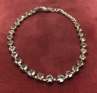 "Vintage Bracelet 8"" Gold Tone Rhinestone"