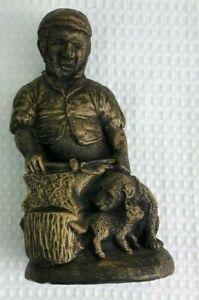 Whitestone Ornaments 27cm Bronze Effect Blacksmith With Dog & Cat Garden Statue