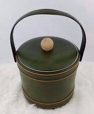 Georges Briard Vintage Ice Bucket with Lid Handle Avocado Green 2 pc set Vinyl