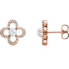 Freshwater Cultured Pearl & 1/4 ct. tw. Diamond Earrings In 14K Rose Gold