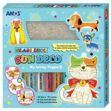 AMOS Suncatcher Glass Deco Decoration Art Paint Craft Kit 10 Colours Pet Dog Cat