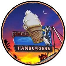 Penguin Soft Ice Cream Cone Hamburgers Metal Sign Wall Decor Grossman LG246