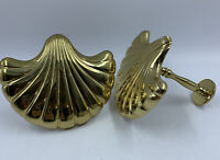 2- Solid Brass Curtain Tie Backs Vintage Sea Shells Beach Home Decor MCM READ
