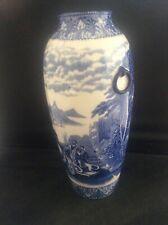 RARE Antique c19th Cauldon Pottery Chariots Vase Blue White Transfer Printed