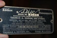ANTIQUE THOMAS EDISON DISC PHONOGRAPH B150 RECORD PLAYER NAME NUMBER PLATE TAG