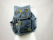 Claire's Girl's Smiley Denim Emoji Patch Backpack in Blue CR003 AA 06