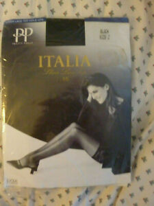 SIZE 2 PRETTY POLLY ITALIA SHEER LACE TOP HOLD UPS 15 DEN BLACK BNWT