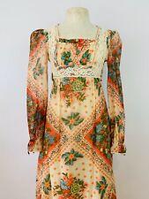 Vintage 1970s XS Floral Maxi Dress Boho Victorian Prairie Festival Sleeves