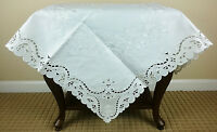 "Wedding Fabric Solid White Embroidered Cutwork 36"" Embroidery Tablecloth Square"